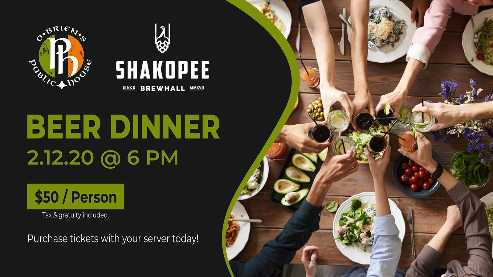 Shakopee BrewHall Dinner